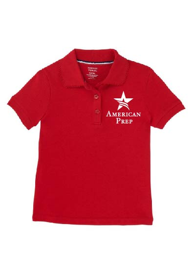 Preschool Girls Long Sleeve Red Polo