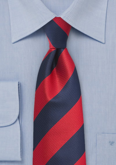 4th-8th Red and Navy Striped Tie for Boys - UT